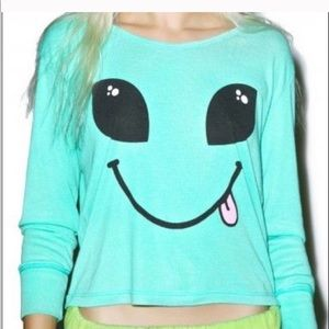 Wildfox Soft sweater smiling  👽 face SZ XS